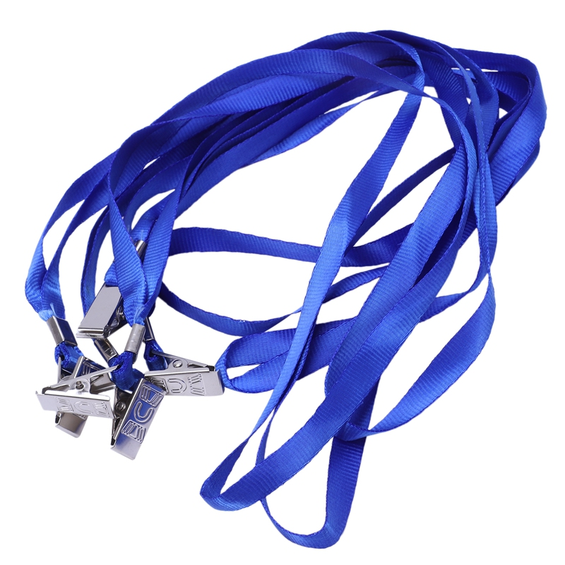 5 Pieces Clip Metal Blue Lanyard Neck Strap For Card Holder