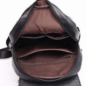 Image 5 - Frauen Leder Rucksäcke Hohe Qualität Sac A Dos Rucksäcke Für Mädchen Vintage Bagpack Solide Damen Reise Zurück Pack Schule Weibliche