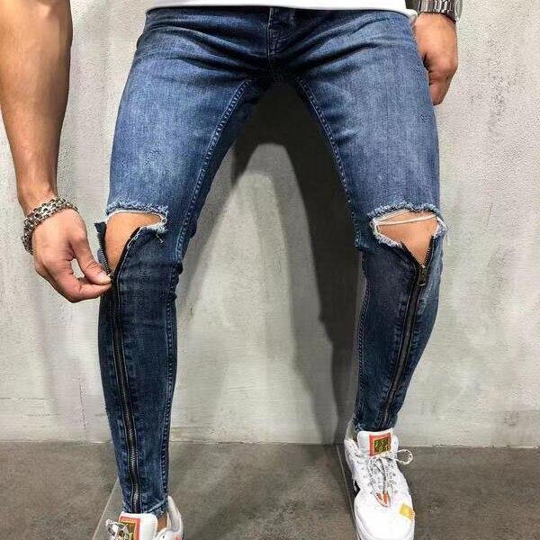 2020 Men's Jeans Skinny Hip Hop Cool Streetwear Hole Ripped Knee Zipper Jeans Slim Mens Clothes Pencil Homme Denim Pencil Pants