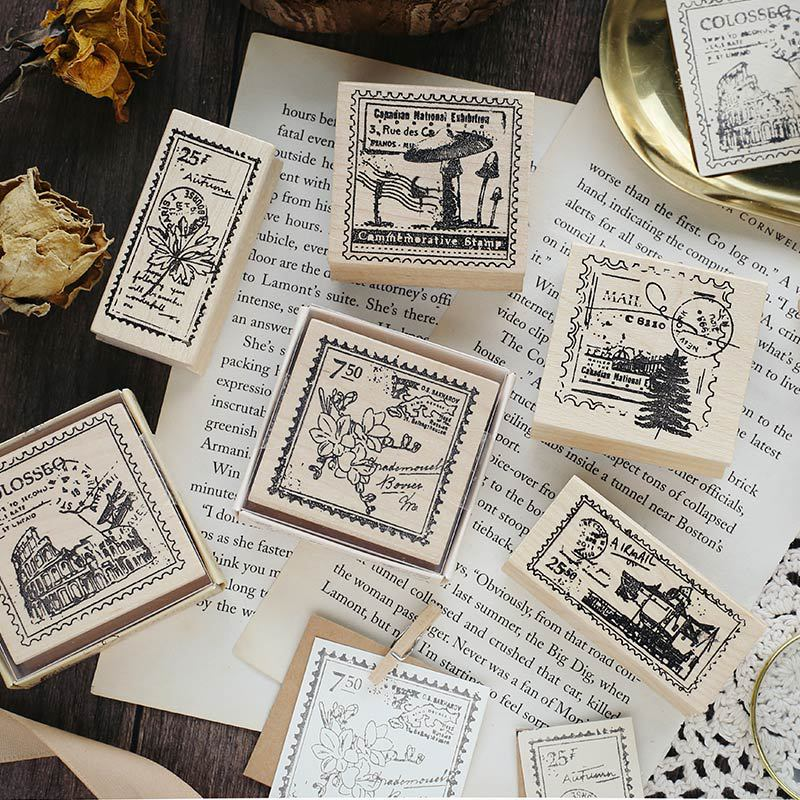 Vintage European Architecture Retro Stamp Wooden Rubber DIY Stamps For Scrapbooking Travel Envelope Diary Album Seal Crafts