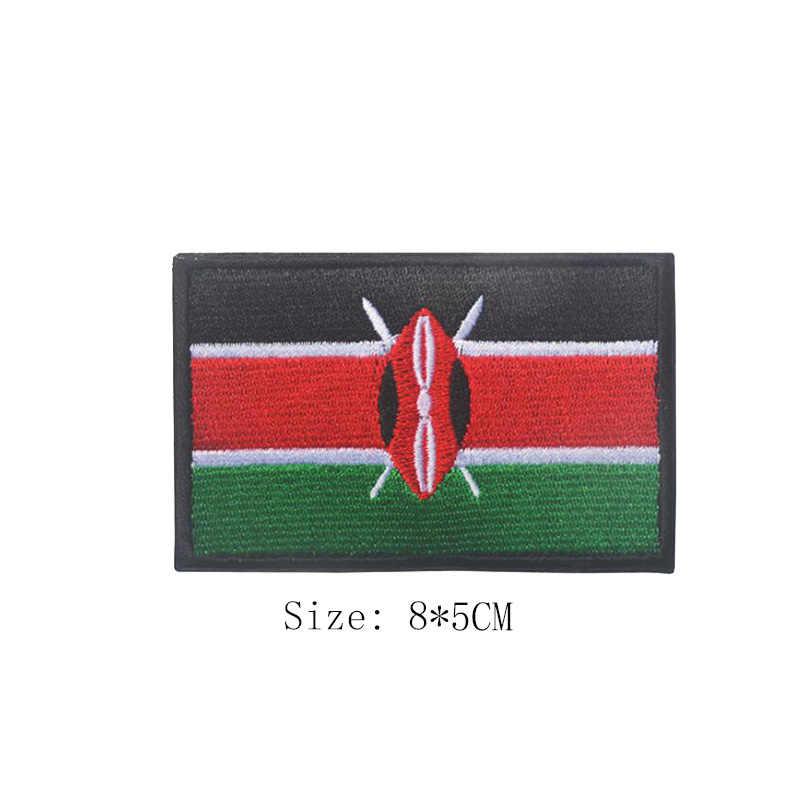 1 adet 3D nakış afrika ülke fas güney afrika mısır Kenya kongo nijerya Angola bayrağı rozetli yama giyim aksesuarları