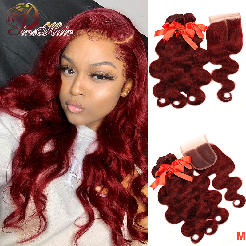 99J Red Bundles With Closure Burgundy Brazilian Human Hair Bundles With Closure Pinshair Body Wave Bundles With Closure Non-remy