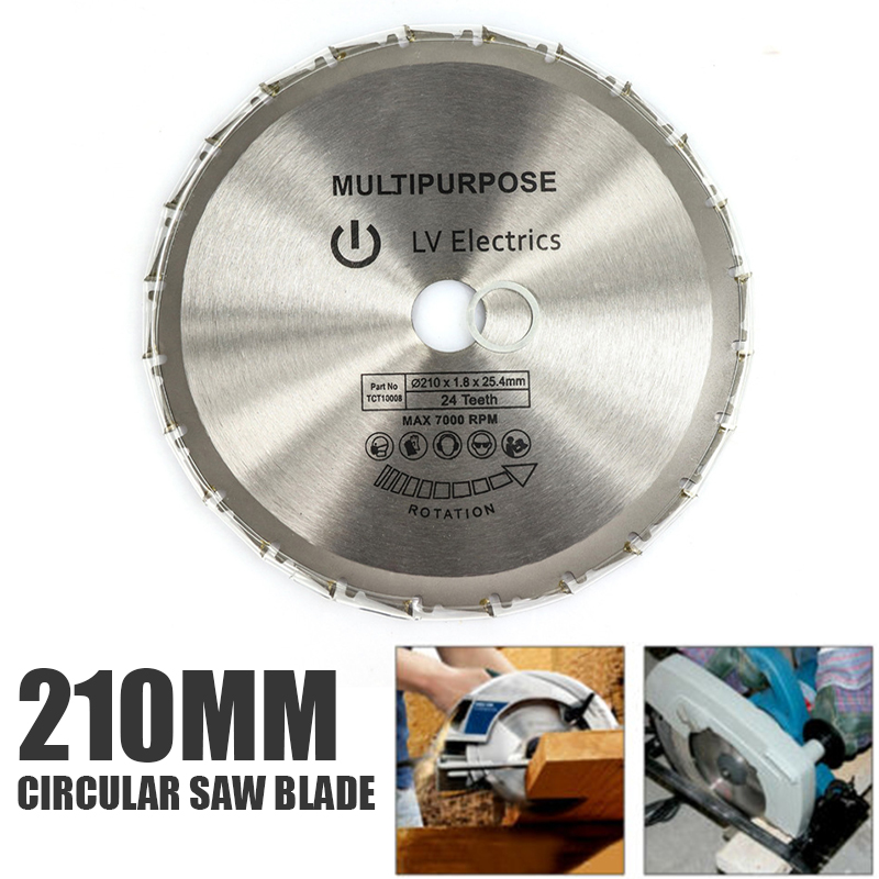 1pc Durable Universal 210mm Circular Saw Blade Multipurpose 25.4mm Bore Rage Rage4RageB 24T Round Cutting Disc Woodworking Tools