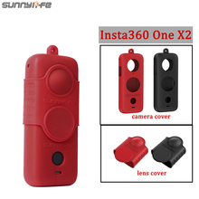One X2 Lens Cap Camera Silicone Case Protective Cover with Lanyard Strap For Insta360 One X2 Sports Action Camera Accessory
