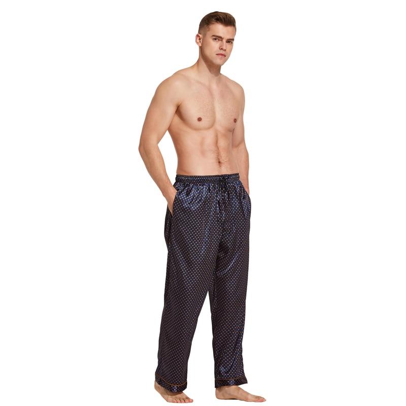 Tony y Candice Pantalones de pijama Hombres Pantalones de dormir de seda satinada Pantalones casuales Ropa de dormir masculina Pijamas largos de salón Ropa interior suave