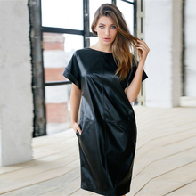 Casual Pu Leather Pockets Zippers Black Short Sleeve o Neck Knee Length Loose Woman Dress 2021 Summer Dress
