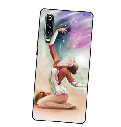 P078 Gymnastique Noir couvercle de boitier en silicone Pour Huawei P8 P9 P10 P20 P30 Lite Pro P Smart Plus 2017 2019