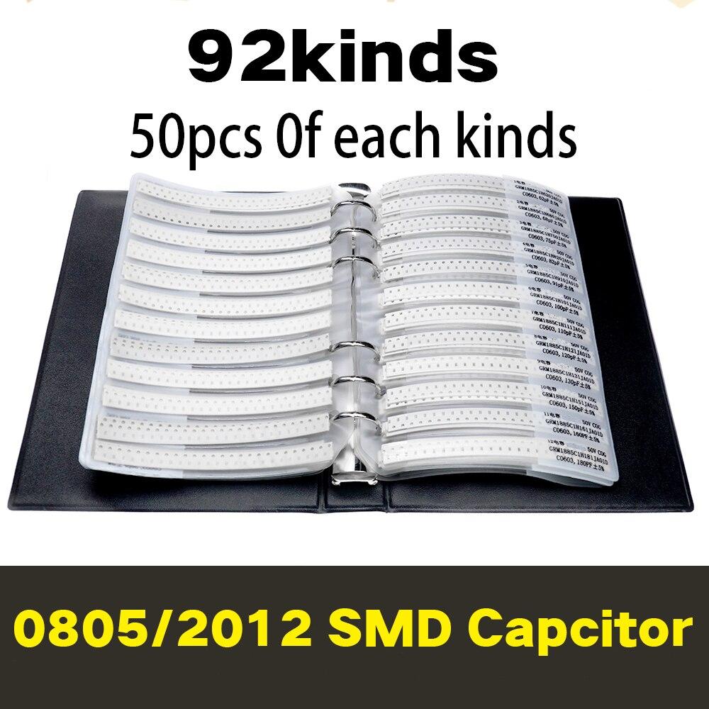 2012 0805 SMD набор образцов конденсаторов 92valuesx50 шт. = 4600 шт. 0.5PF ~ 10 мкФ набор в ассортименте