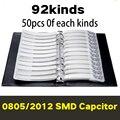 2012 0805 SMD Capacitor Sample Book 92valuesX50pcs=4600pcs 0.5PF~10UF Assortment Kit Pack
