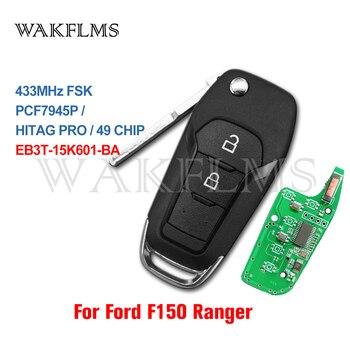 Флип ключ для автомобиля, 2 кнопки, для Ford Ranger F150 2015 2016 2017 2018 433MHz ID49 Ключ от авто      АлиЭкспресс