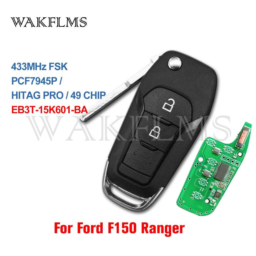 Флип-ключ для автомобиля, 2 кнопки, для Ford Ranger F150 2015 2016 2017 2018 433MHz ID49