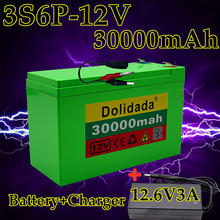 12V 30Ah 18650 lithium battery pack + 12.6V 3A charger, built-in 30Ah high current BMS, used for sprayer, 12V power supply