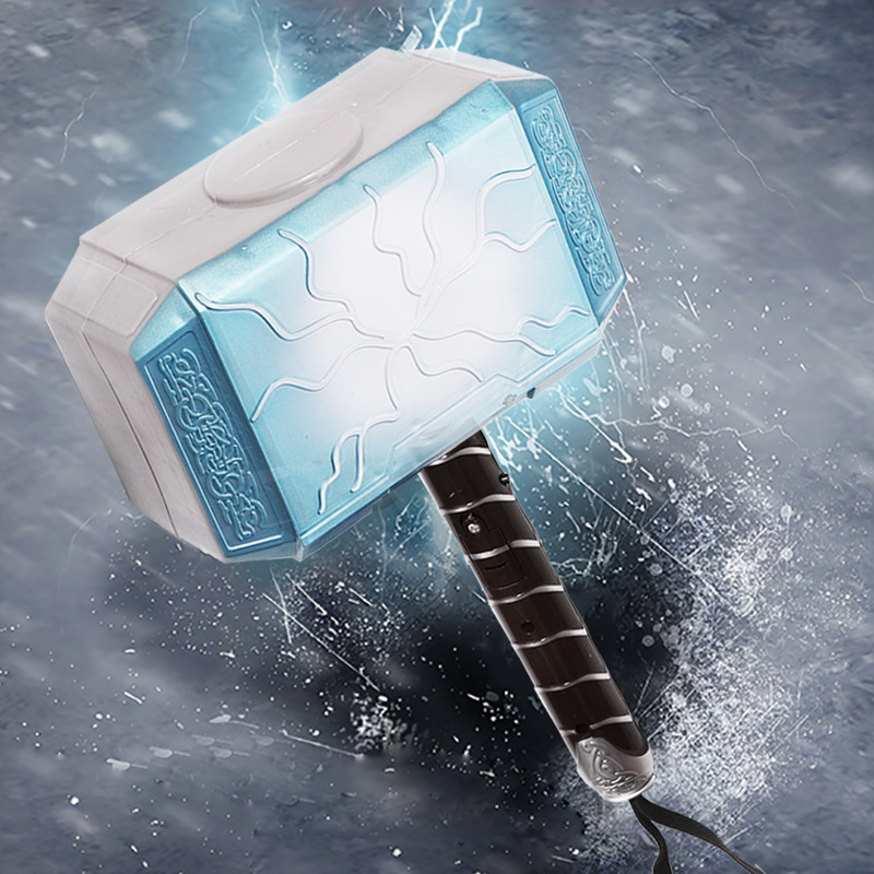 Avengers Endgame Thor Hammer Plastic 28cm LED Luminous Voice Thor Hammer Halloween Show Weapons Cosplays Props Kids Gifts Toys