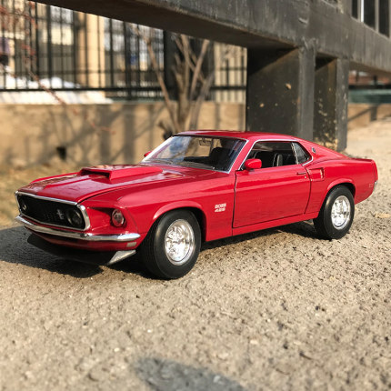 Welly 1/24 1:24 1969Ford Mustang Boss 429 Sport Car Vehicle Diecast Display Metal Model Birthday Children Toy For Kid Boys Girls