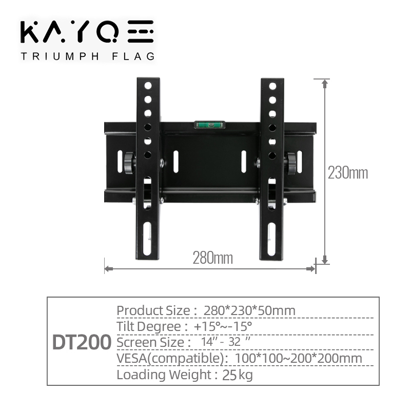 Universal 25KG Adjustable Tilt TV Wall Mount Bracket Flat Panel TV Frame Support 15 Tilt for 14-32 Inch LCD LED Monitor 55lbs 5