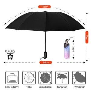 Image 4 - 역방향 접이식 소형 여행 자동 우산 인사이드 아웃 썬 비 여성 우산 10 갈비 여성용 Unbrellas