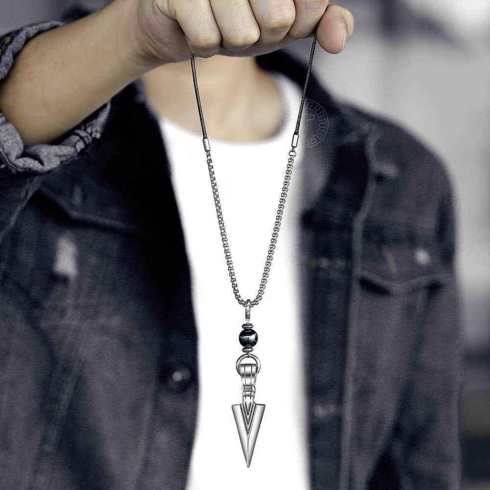 Naszyjnik dla mężczyzn koralik ze stali nierdzewnej skórzany regulowany naszyjnik mężczyzna biżuteria stop strzałka wisiorek moda nowy LDNM26