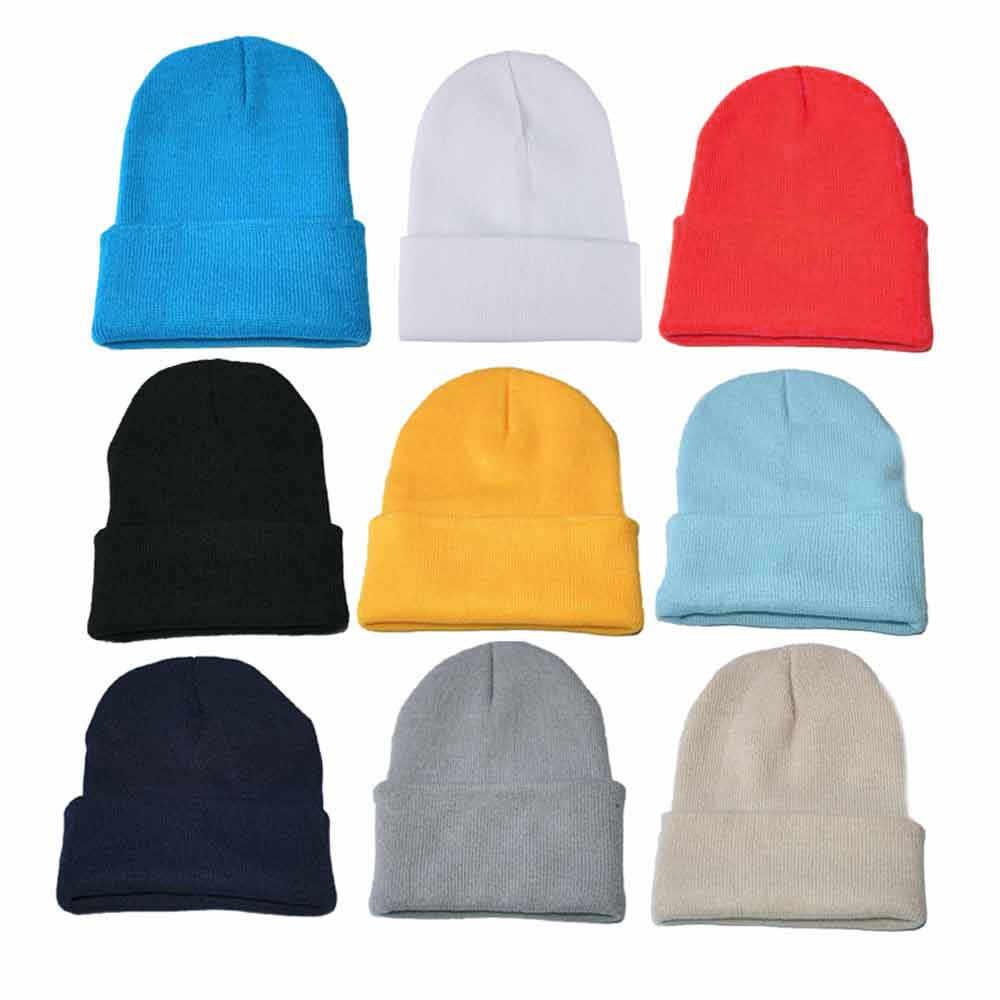 الشتاء محبوك تزلج Skullcap الكبار عادية الهيب هوب قبعة النساء الرجال قبعة صغيرة قبعة للجنسين بلون الدفء مطاطا القبعات