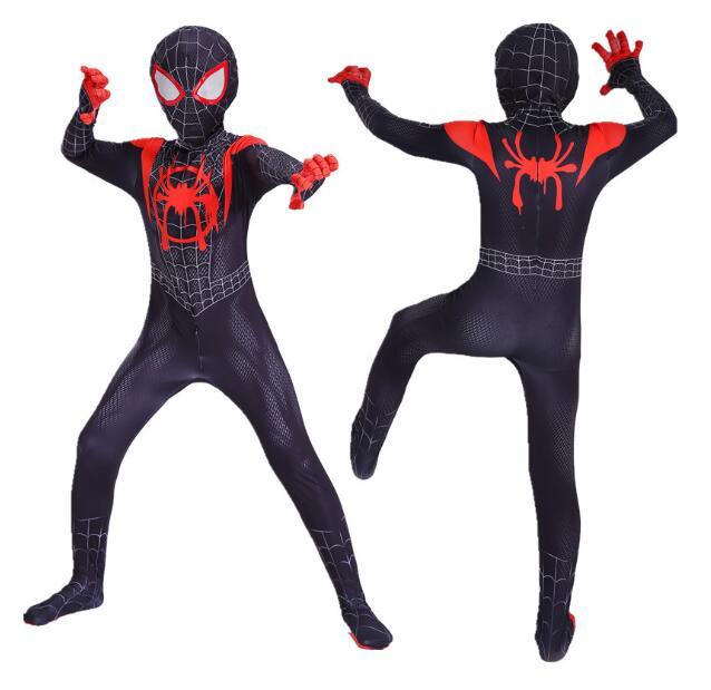 Children's Costume Spiderman Verses Spider Miles Morales Cosplay Costume Zentai Spiderman Pattern Body Bodysuits