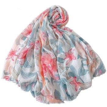 YILIAN Brand Floral Print Women Scarf Crumpled Art Fresh Long Fashion Scarf Shawl джемпер fresh brand fresh brand fr040ewdfpn2