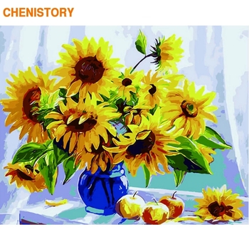 CHENISTORY Frameless Picture Diy Painting By Numbers Sunflowers Flowers Wall Art Number Calligraphy &