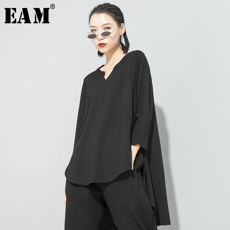 [EAM] Women Black Brief Back Long Temperament Long T-shirt New V-Neck Long Sleeve  Fashion Tide  Spring Autumn 2020 1S188