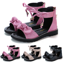 Kids Glitter Sequins Flat Shoes Baby Girls Bownot Gladiator