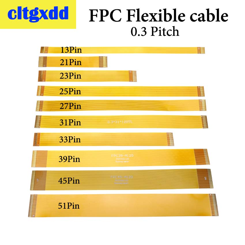 Cltgxdd Gold Plated FPC Connector Cable Line 13 21 23 25 27 31 33 39 45 51 Pin FFC FPC Flexible Flat Ribbon Cable Pitch 0.3 Mm