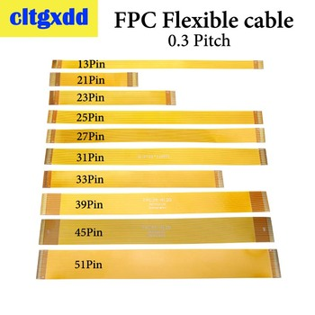 цена на cltgxdd Gold plated FPC Connector cable Line 13 21 23 25 27 31 33 39 45 51 Pin FFC FPC Flexible Flat Ribbon Cable Pitch 0.3 mm