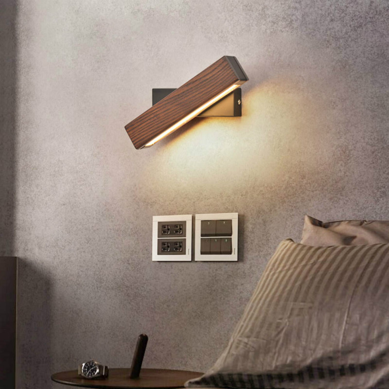 <font><b>Nordic</b></font> Wooden LED <font><b>Wall</b></font> <font><b>Lamp</b></font> 360 Degree Rotating Bedside <font><b>Lamp</b></font> 3 Color Light Living Room Aisle Corridor Decorative Light Lighting image