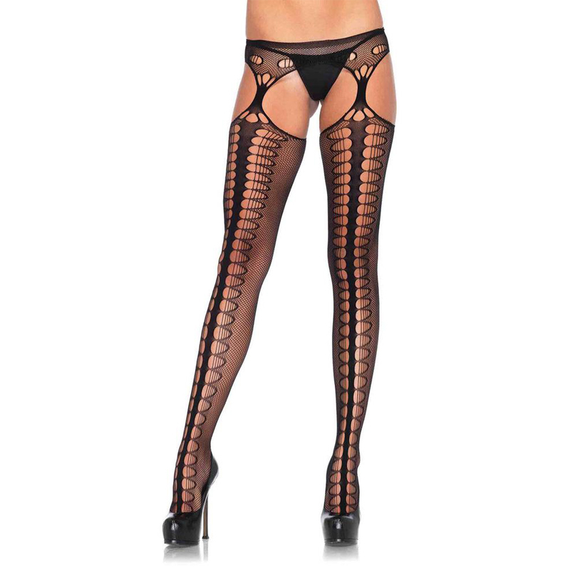 Women Sexy Stockings Transparent Fishnet Thigh-Highs Plus Size Women Tights Open Crotch Mesh Pantyhose Medias De Mujer SW201