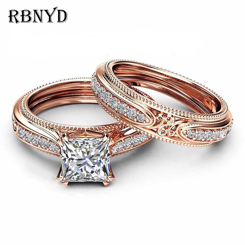 RBNYD 2 Luxury Ladies Romantic Crystal Rings, Stylish Square Rose
