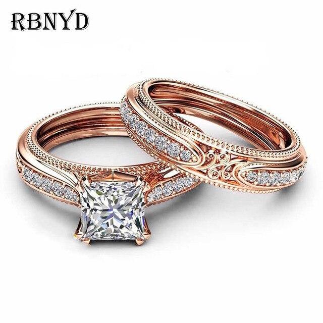 Rbnyd 2 senhoras de luxo romântico cristal anéis, quadrado elegante rosa ouro zircon casamento anéis de noivado, presentes de natal yr010