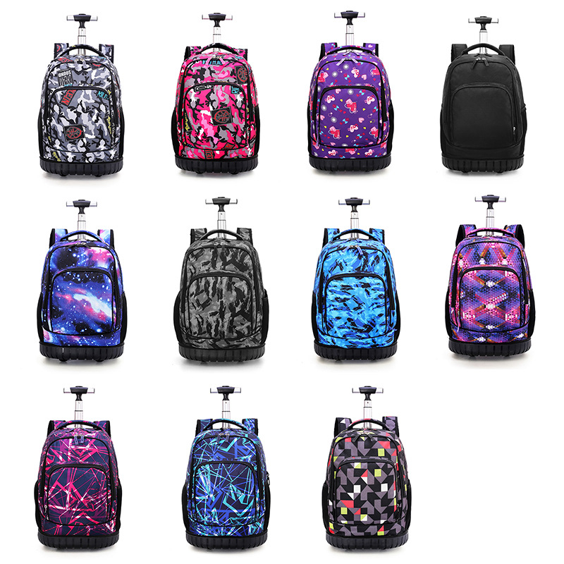 Image 5 - 18 Inch Rolling Backpack Travel School Backpacks on Wheel Trolley SchoolBag for Teenagers Boys Children School Bag with Wheels-in School Bags from Luggage & Bags