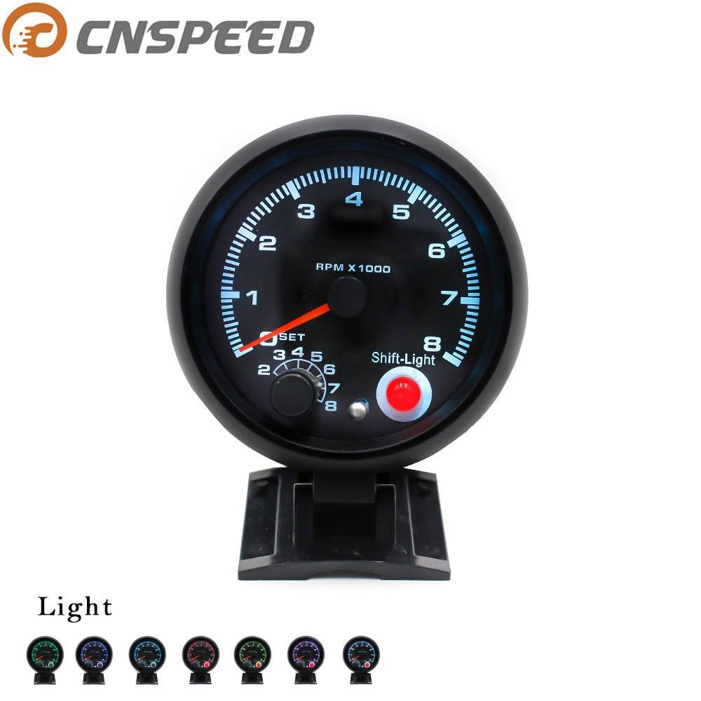 CNSPEED tacómetro de coche de 80mm calibre 0-8000 RPM ajuste 4 6 8 cilindros 7 colores luz Led 12V LUZ DE CAMBIO YC100142-CN