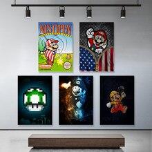 漫画マリオかわいい帽子ギフト壁の芸術家の装飾のキャンバスプリント絵画現代ポスターリビングルームモジュラー写真なしフレームartwo