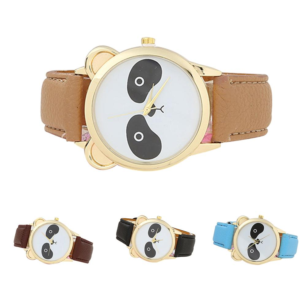 Girls Students Fashion Cartoon Panda Dial Faux Leather Analog Quartz Wrist Watch