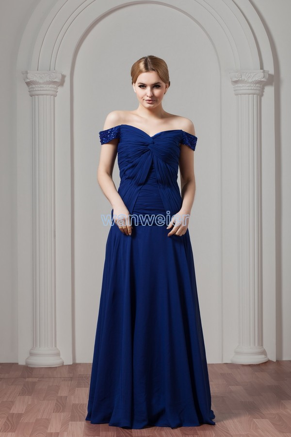 Free Shipping Cheap New Design Custommade Color/size V-neck Pleat Evening Gown Blue Long Plus Size Mother Of The Bride Dress