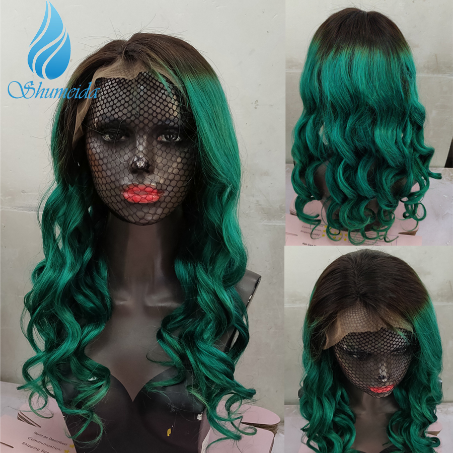 SHD Ombre Lace Front Wigs Green Colored Human Hair Wigs Brazilian Remy Hair Gluelss Lace Green Wigs Pre Plucked With Baby Hair in Human Hair Lace Wigs from Hair Extensions Wigs
