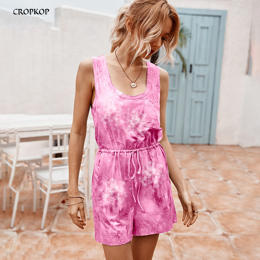 Wide Leg Rompers Womens Jumpsuit Shorts Pants Summer Tie-Dye Square Neckline Tops Casual Black One Piece Playsuit 2020 Clothing
