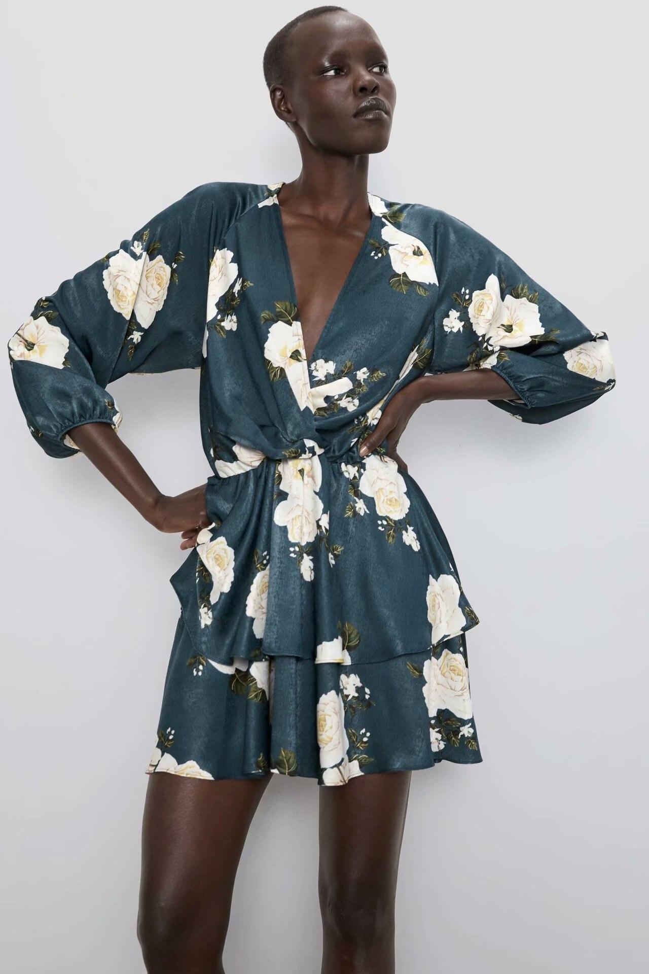 2020 Spring Summer New Grand Prix Stack Flowers Zaraing Women Dress Sheining Vadiming Female Dress Vintage Sexy Plus BGB9855