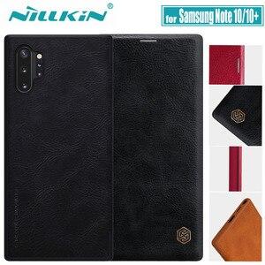 Image 1 - Nillkin מקרה עבור סמסונג הערה 10 בתוספת כיסוי בציר רך עור מפוצל מלא כיסוי Case Flip עבור Samsung Galaxy הערה 10/10 + מקרה