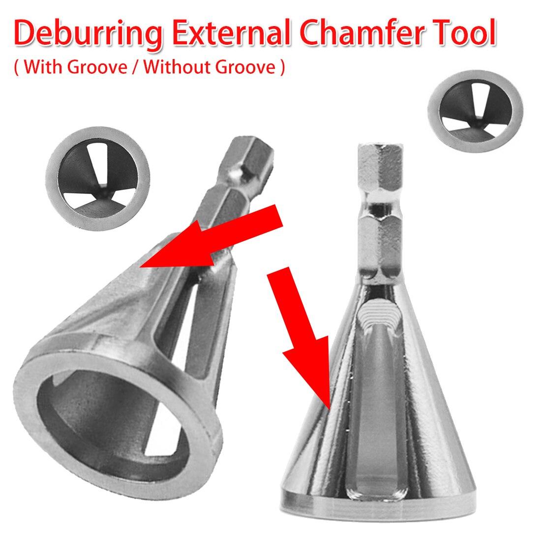 4-19mm Work Range Steel Deburring External Chamfer Tool Drill Bit Remove Burr Tire Repair Damaged Bolts Woodworking 1/4 Shank