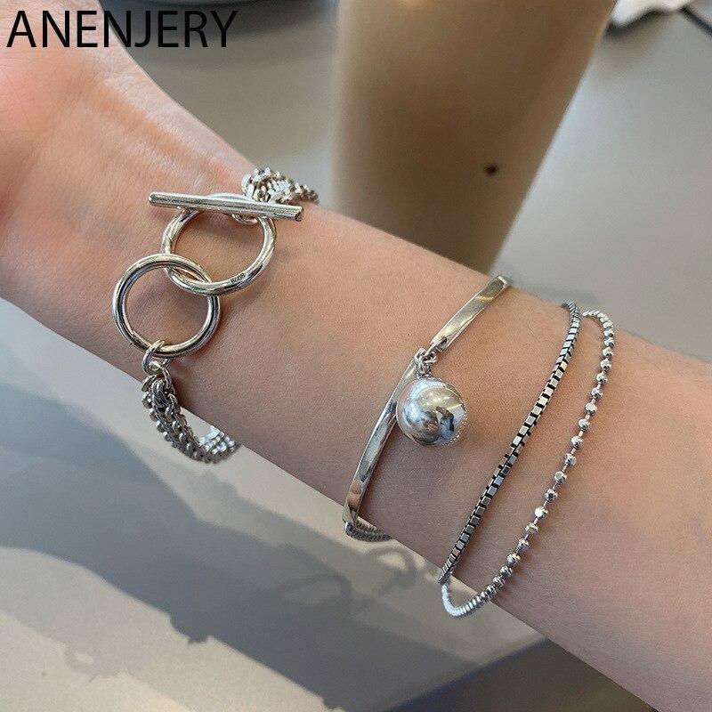 ANENJERY 925 argent Sterling multi-cercle OT Bracelet pour femmes hommes Simple multi-couche rétro Bracelet bijoux S-B525