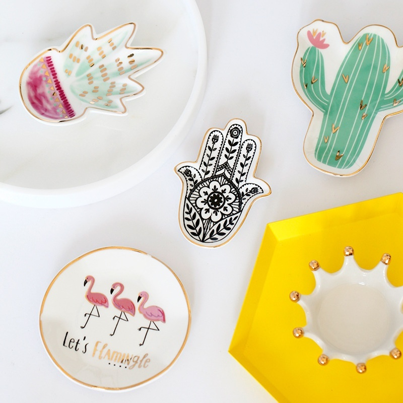 Products Cactus Flamingo Plate Ceramic Dish Nordic Style Decorative Crown Food Plate Jewelry Trays Rings Bracelets Holder