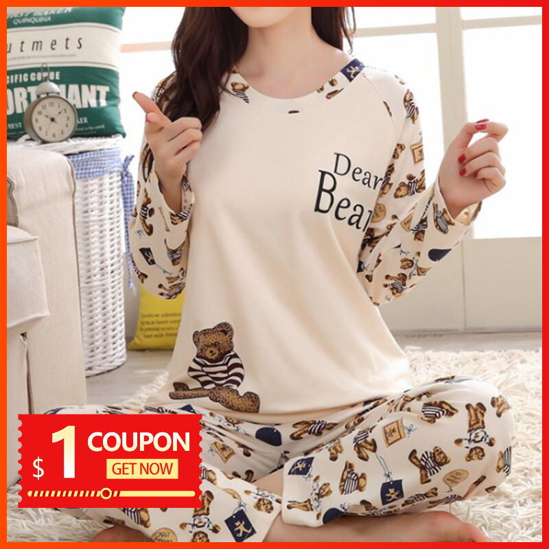 Women   Pajamas     Set   Spring Autumn New Thin Cartoon Printed pijama Women Long Sleeve Cute Sleepwear Casual Homewear Female Pyjamas