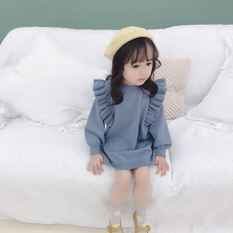 New autumn winter Dress for Girls Knitted Dress  Lattice Kids Toddler baby dress for girl princess Cotton warm Christmas Dresses