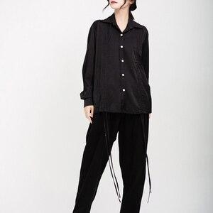 Image 5 - [EAM] נשים שרוך קפלים גדול גודל חולצה חדש דש ארוך שרוול Loose Fit חולצה אופנה גאות אביב סתיו 2020 1D195