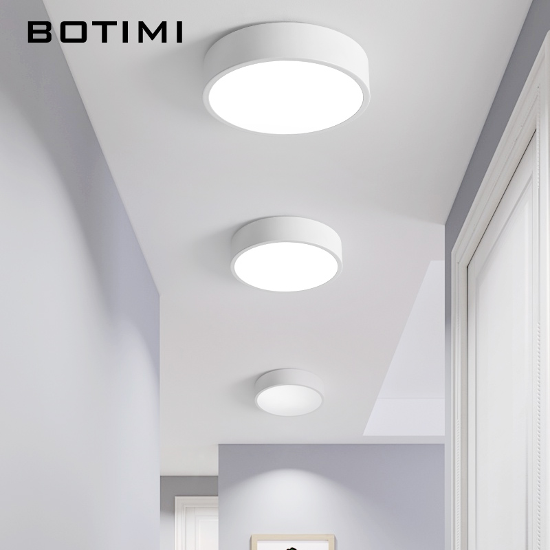 BOTIMI 220V LED Ceiling Lights With Round Metal Lampshade For Living Room Modern Surface Mounted Ceiling Light Wood Bedroom Lamp in Ceiling Lights from Lights Lighting