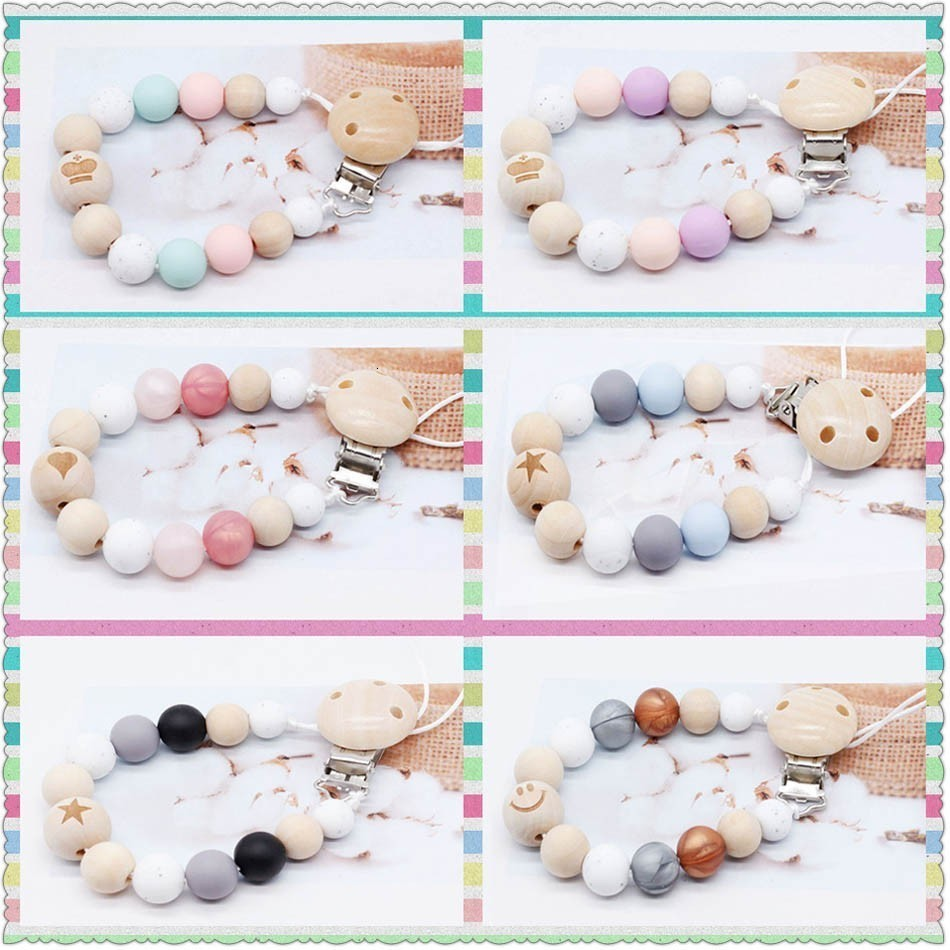Baby Silicone Pacifier Clip Chain Dummy Clip Gift Candy Teether Toy Star Love Smiley Face Wooden Beads Girl Boy Chewable Toy